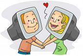 foto of long distance relationship  - Illustration of a Couple Having an Online Romance - JPG