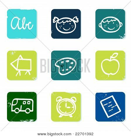 Back To School Doodle Icons Set & Elements Isolated On White.
