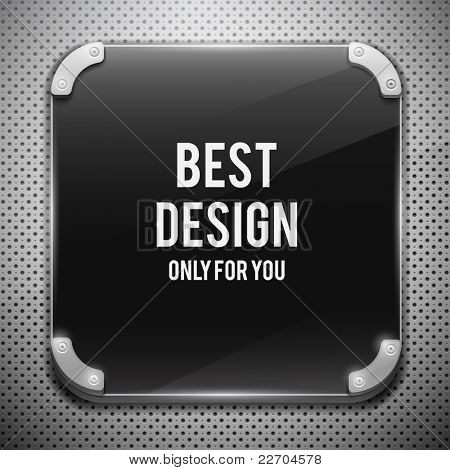 Black glossy plate on metal grid(vector illustration)
