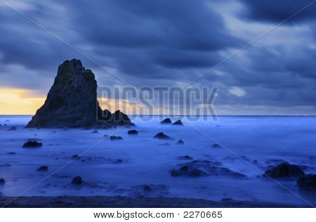 Dark Strom Over Coastal Scene