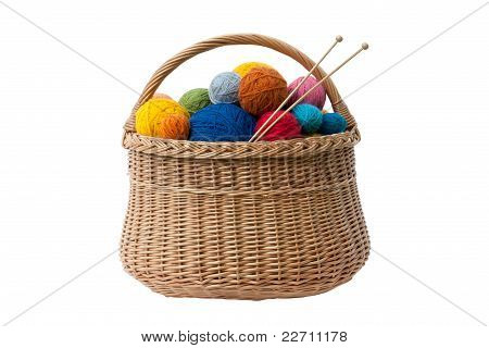Basket with Yarn Balls