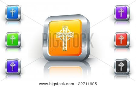 Religious Cross Icon on 3D Button with Metallic Rim Original Illustration