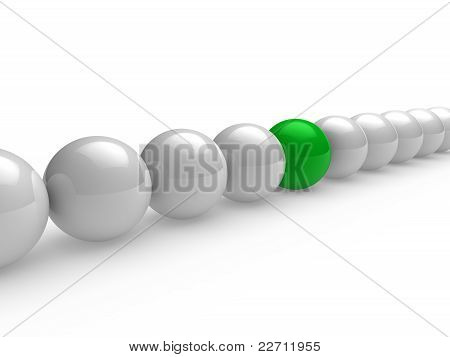 3D Ball Green White Line