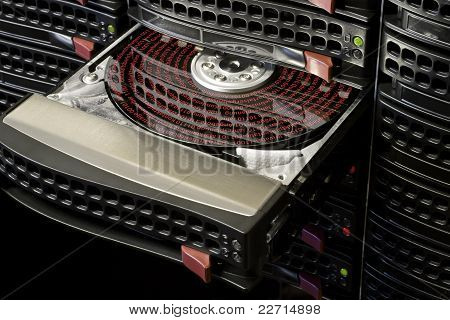 Open Hard Disk With Symbolized Data
