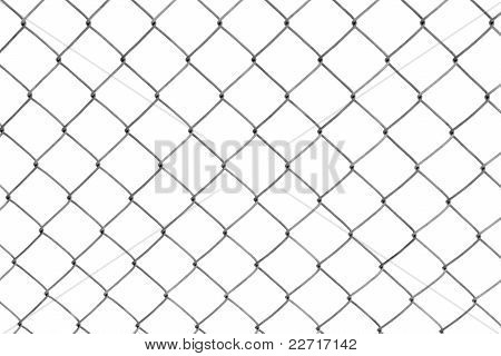 Chain-link fence isolated on white