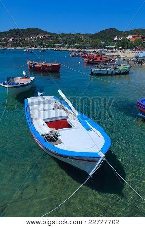 Boats near Ouranopolis, Athos Peninsula, Mount Athos, Chalkidiki, Greece