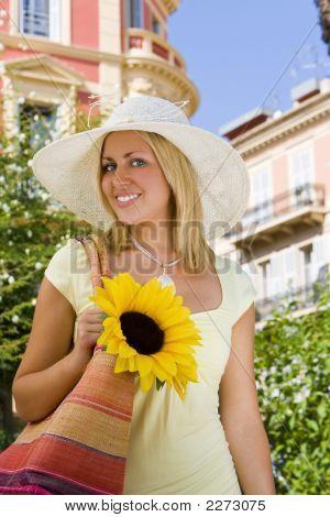 Sunhat And Sunflower