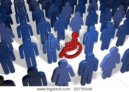 Disabled Wheelchair User Amongst Many People