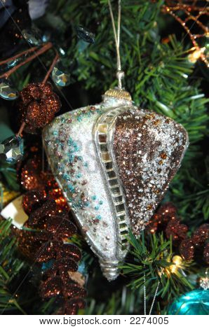 Brown And Turquoise Retro Ornament