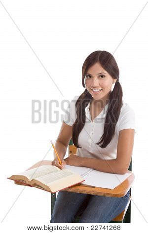 Hispanic College Student College Student Woman Studying
