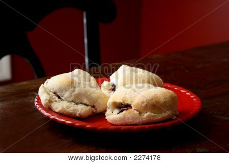 Bisquits And Jam On Table Top