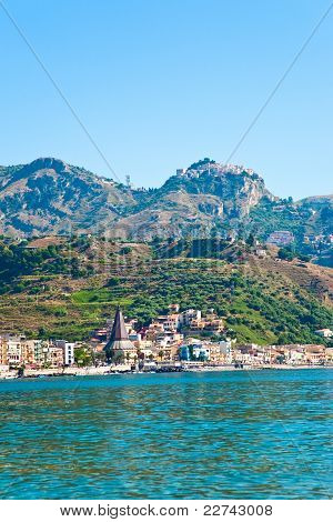View On Taormina - Tourist  Resort  On Mountain And Giardini Naxos Beach, Sicily