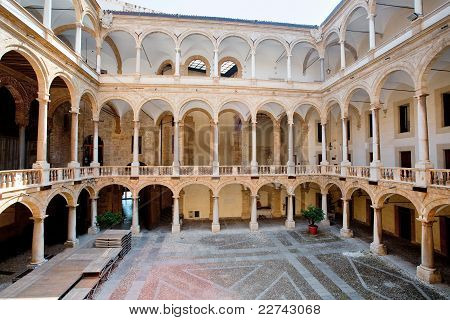 Courtyard Of Palazzo Reale In Palermo