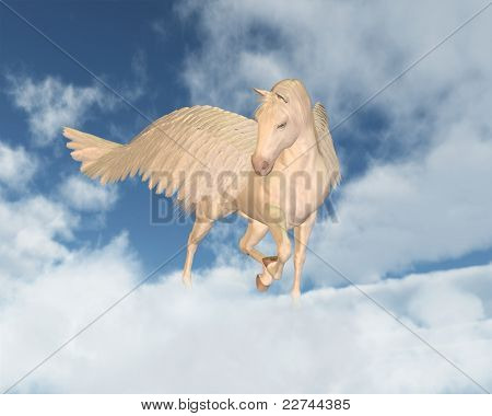 Pegasus Looking Down Through Clouds