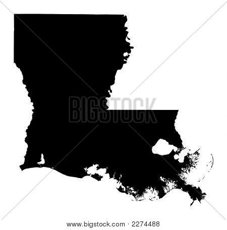 Detailed Isolated B/W Map Of Louisiana, Usa