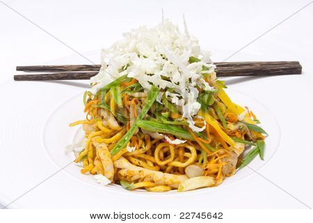 Korean Food Egg Noodle Fried With Seafood