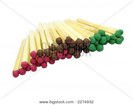 Red, Green, Brown Matches Isolated On White