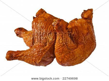 Delicious Bloated Chicken Leg On White