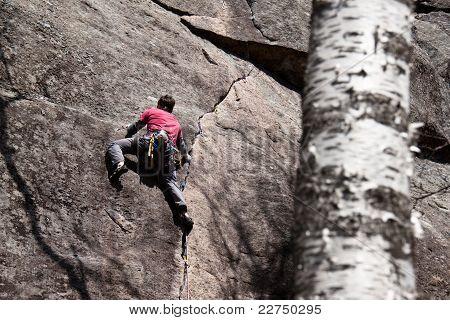 Climber ascending a crack