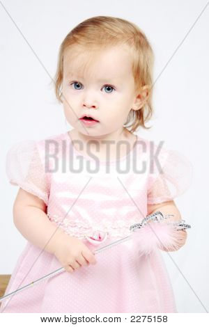 Baby Girl In Dress With Magic Wand