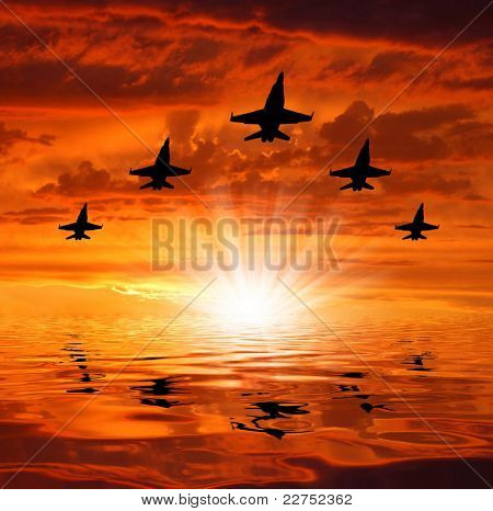 five bombers over sunset