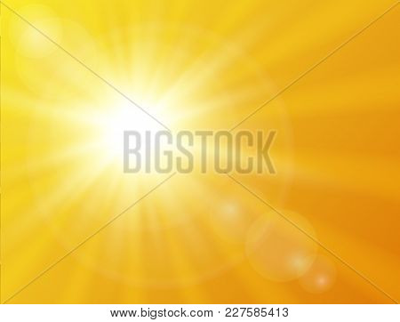 poster of Sunny Background. Vector Sunshine Background Summer Design.
