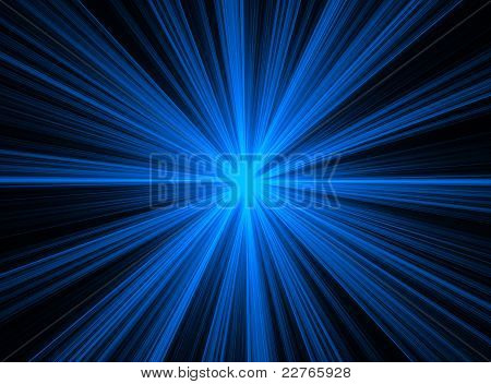 Abstract Blue Fractal Explosion