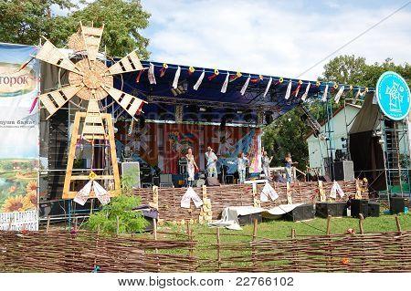 Veliki  Sorochintsi Village, Poltava Region, Ukraine - August 20: Ukrainian Modern Pop Group In Clot