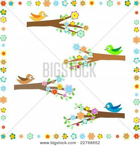 Birds sitting on different tree branches with flower decor