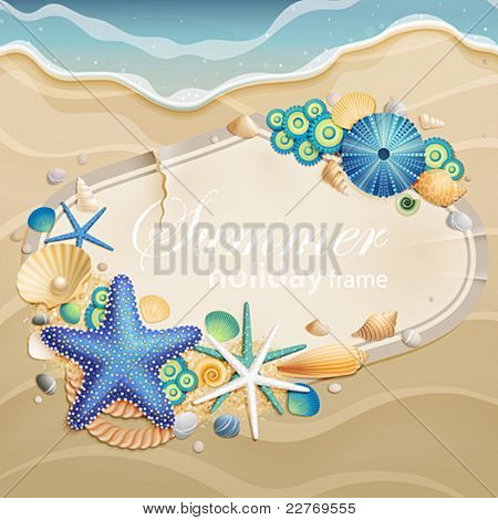 Vintage greeting card on sand with shells and starfishes and place for text.