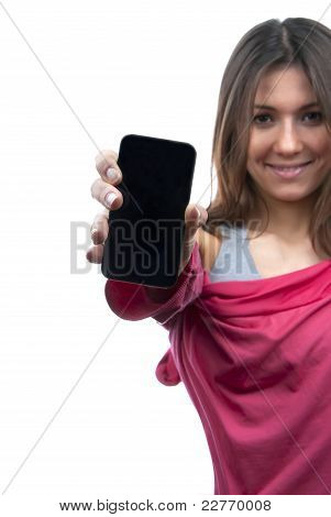 Woman Showing Display Of Her New Touch Mobile Cell Phone