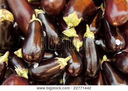 Closeup Of Eggplants