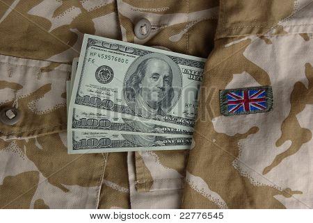 Dollars in a british desert uniform