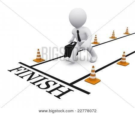 3D man running towards the finish line