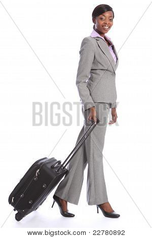 Business Travel Young Happy Black Woman With Case