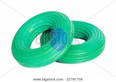 Dois flexores da mão verde isoladas no fundo branco