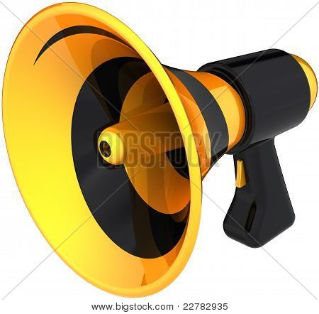 Megaphone news announcement communication symbol colored black yellow