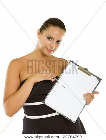 Young Business Woman With A Clipboard