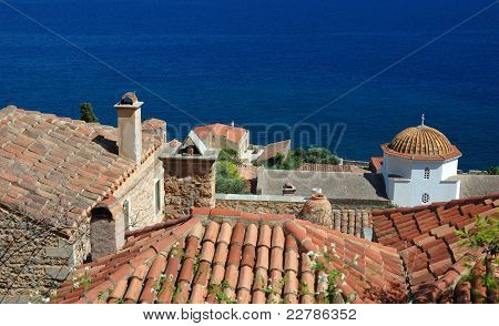 Timber Roofs Of Old Byzantine Town Monemvasia At The East Coast Of The Peloponnese,greece
