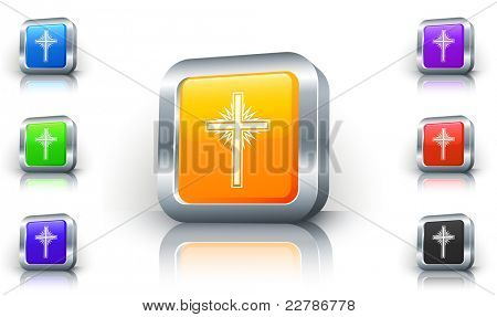 Religious Cross Icon on 3D Button with Metallic Rim Original Illustration