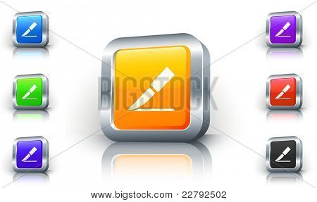 Knife Icon on 3D Button with Metallic Rim Original Illustration