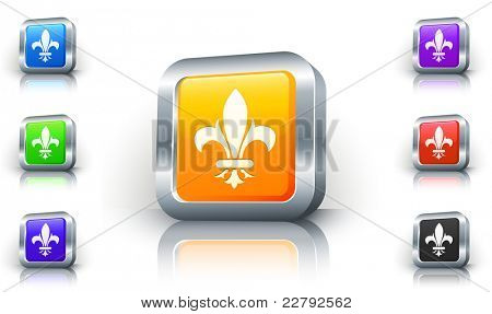 Fleur De Lis ícone no botão 3D com ilustração Original aro metálico