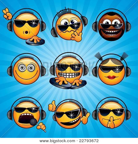 Cartoon DJ Icons and Smileys. Variety Deejay Signals, Emotions and Gestures