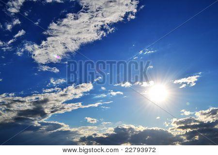 huge sun on blue sky