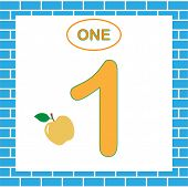 Card Number 1 (one). Learning Numbers, Mathematics. Game For Children. poster