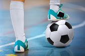 Indoor Soccer Sports Hall. Football Futsal Player, Ball, Futsal Floor. Sports Background. Youth Futs poster