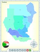 pic of north sudan  - Sudan Map with Flag Buttons and Assistance  - JPG