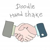 Doodle Hand Shake Handdrawn Simple Sketch Concept Of Business Agreement, Vector Eps 10 Cartoon Illus poster