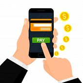 Wireless Payment Illustration. Money Transaction, Business, Mobile Banking And Mobile Payments. poster