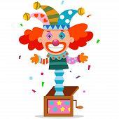 April Fools Day Jack Clown In Box. Vector Cartoon Joker. poster